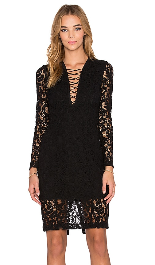 Bardot Jenner Lace Up Dress in Black
