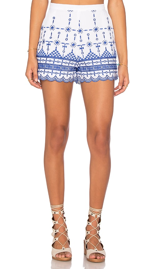 Bardot Santorini Embroidered Shorts in White