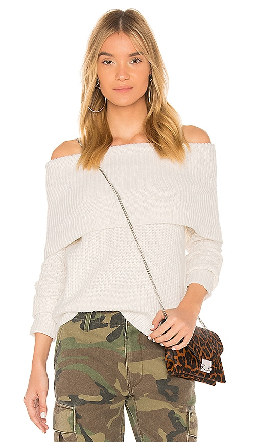 Bardot Zipper Knit Sweater in Ivory