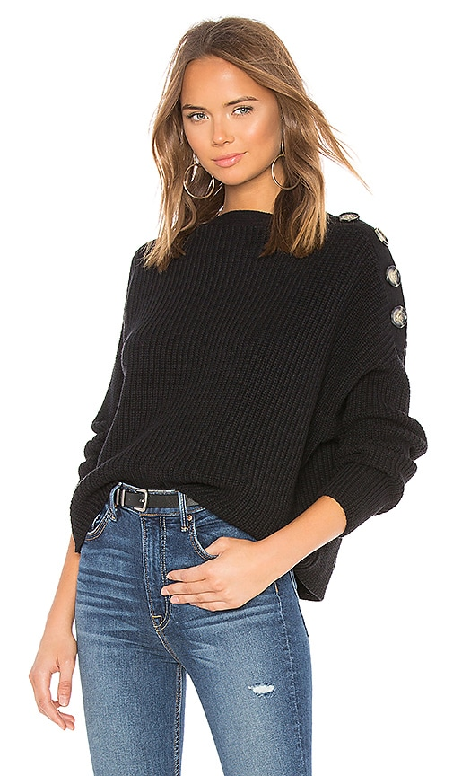 X Revolve Button Shoulder Sweater by Bardot