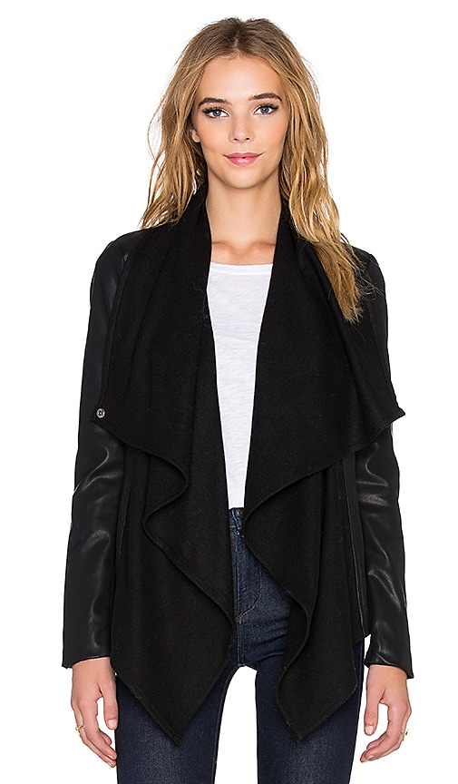 Bardot Waterfall PU Jacket in Black