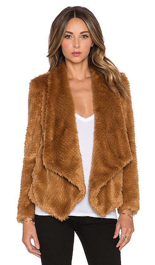 Bardot Faux Fur Waterfall Jacket in Cinnamon