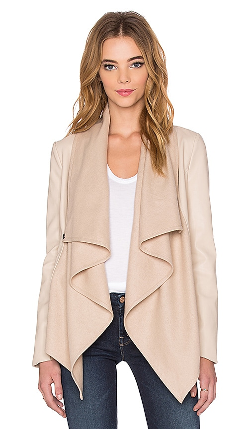 Bardot Waterfall PU Jacket in Beige