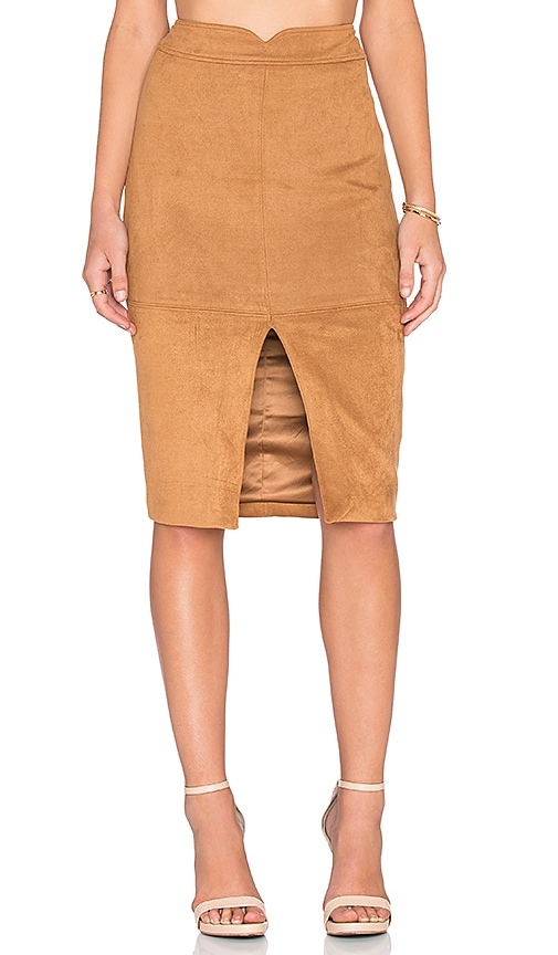 Bardot Sueded Midi Skirt in Brown