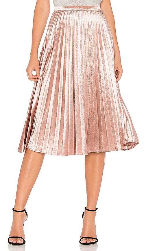 Bardot Velour Pleat Skirt in Pink