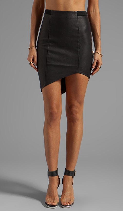 Vegan Leather Asymmetric Skirt