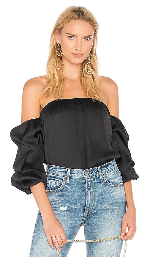 74848cafe17bb9 Bardot Caught Sleeve Bustier Top in Black