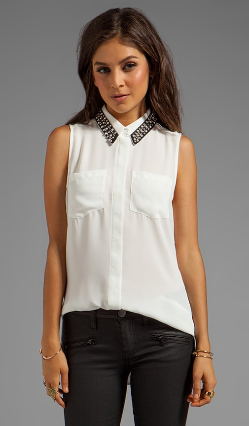 Embellished Button Down Tank