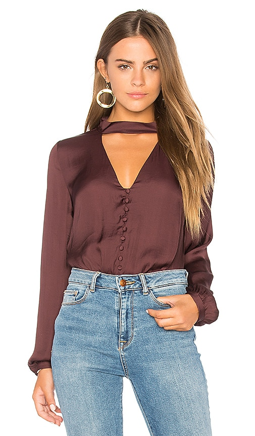 Bardot Satin Keyhole Top in Burgundy