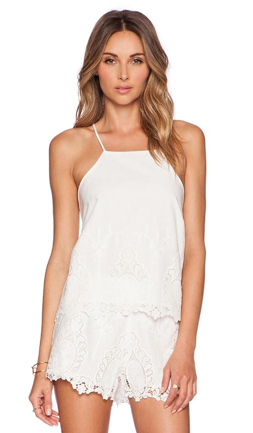 Bardot Lace Tank in White