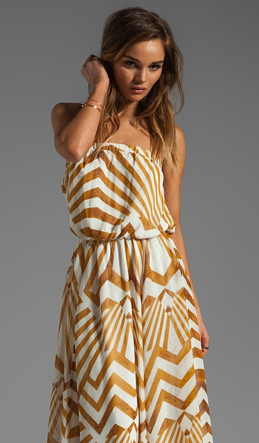Imelda Golden Pyramid Printed Chiffon Maxi Dress