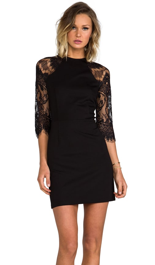 Princeton Ponte Dress w/ Lace Sleeves