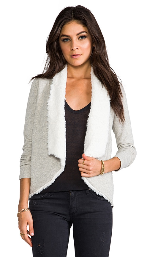 Lola French Terry Cardigan with Faux Shearling Trim