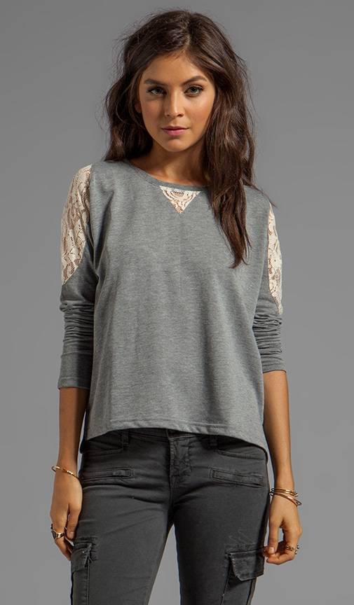 Costello Heather French Terry Sweater w. Lace