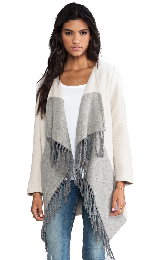 Candace Colorblock Fringe Coat