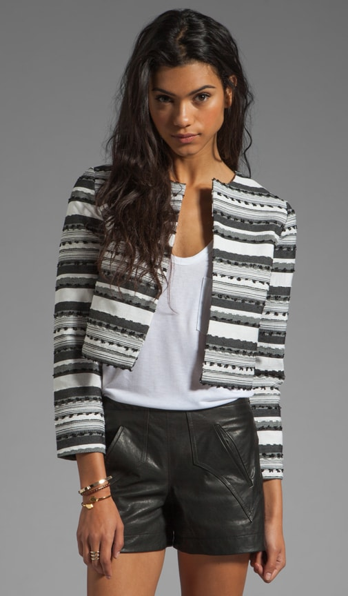 Jariah Striped Textured Crop Jacket