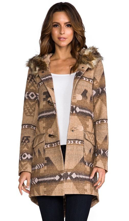 Davina Faux Coyote Fur Trim Patterned Coat