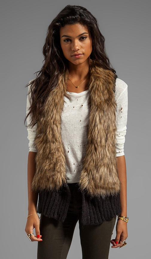Perri Faux Fur Collar Sweater Knit Vest