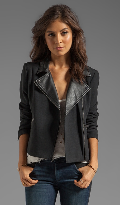 Juliette PU Lapel & Double Cloth Moto Jacket
