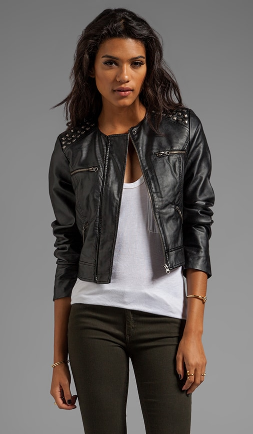 Adela PU Cropped Studded Shoulder Moto Jacket