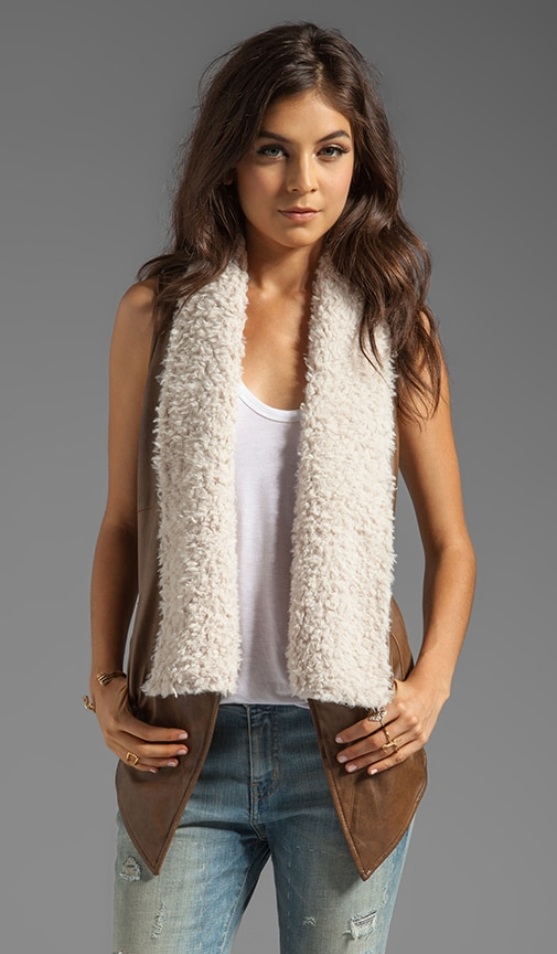 Elaine 2 Tone PU Leather Vest with Faux Fur