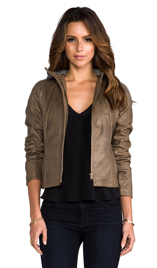 Kaia Hooded Faux Leather Jacket