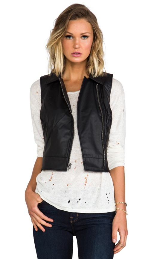 Virgo Textured Faux Leather Vest