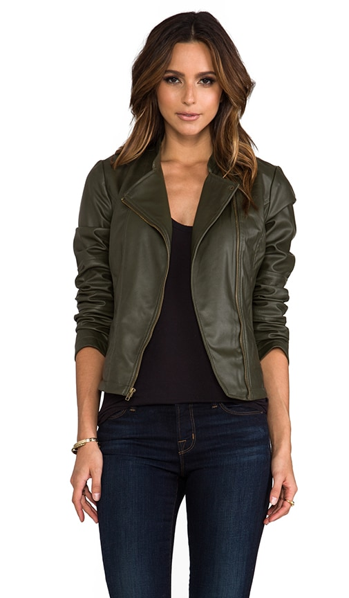 Harlet 2 Tone Washed Faux Leather Jacket