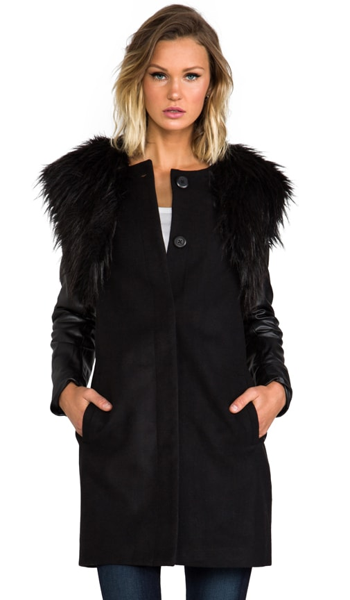 Cruz Melton Coat w/ Detachable Faux Fur Vest