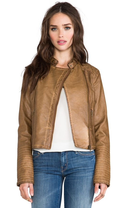 Stanley Garment Dye Faux Leather Moto Jacket