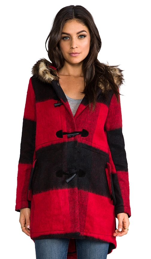 Iris Buffalo Plaid Long Coat with Faux Fur Trim
