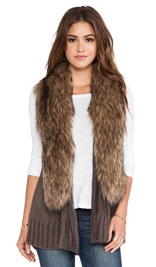 Lida Sweater Vest with Faux Fur Trim