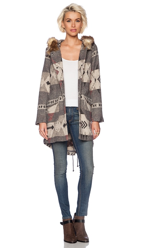 Negeen Patterned Coat with Fuax Fur Trim