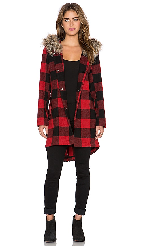 BB Dakota Jaslene Coat with Faux Fur Trim in Red