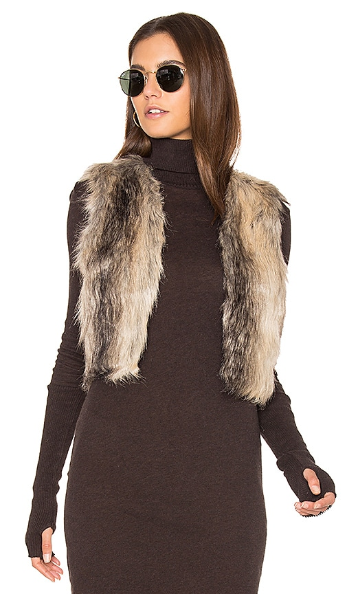 BB Dakota Jack By BB Dakota Loree Faux Fur Vest in Brown