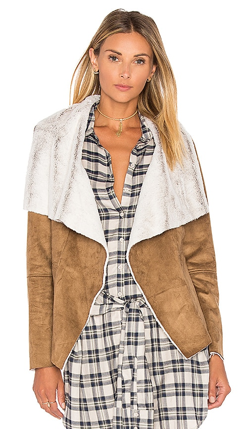 BB Dakota Bourne Jacket with Faux Fur Lining in Brown