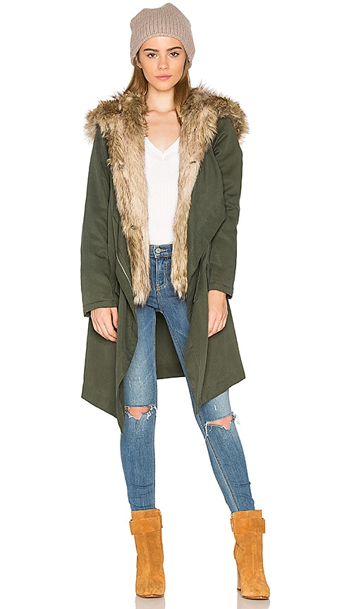 BB Dakota Gerrard Jacket with Faux Fur Trim in Army