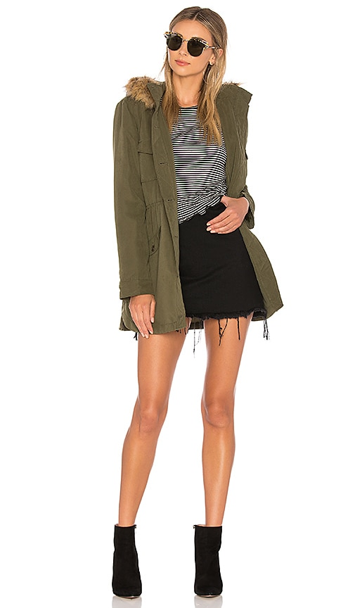 BB Dakota Jack by BB Dakota Faux Fur Medici Jacket in Olive