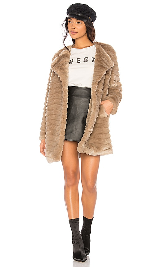 BB Dakota McCoy Faux Fur Coat in Beige