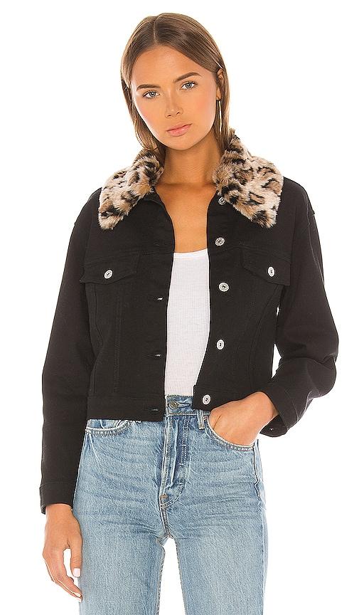 Cant Meow Faux Fur Collar Denim Jacket