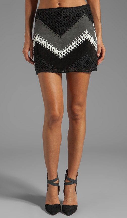 Cole Suede/Crochet A-Line Mini Skirt
