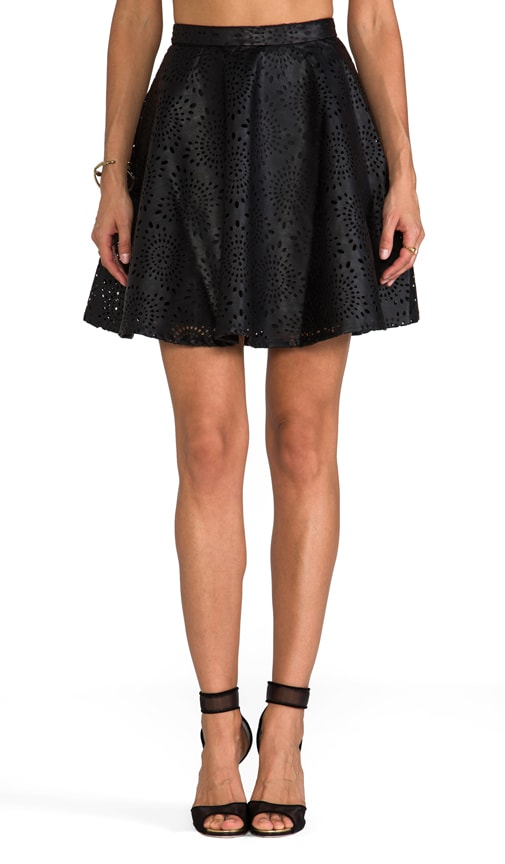 Brian Perforated Faux Leather Mini Skirt