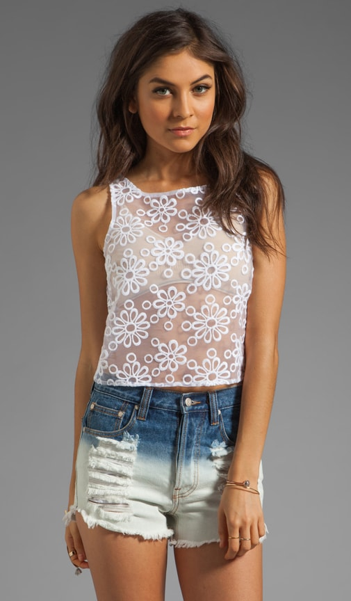 Lourdes Organza Embroidered Cropped Top