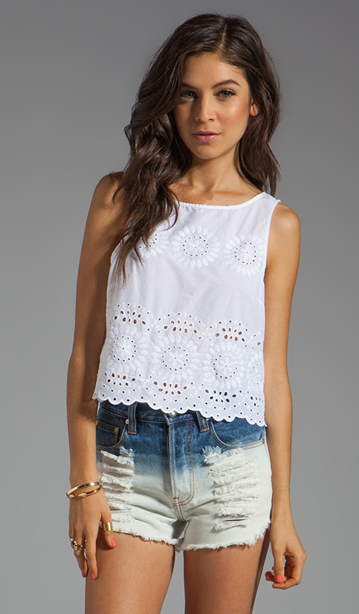 Margo Button Back Eyelet Tank