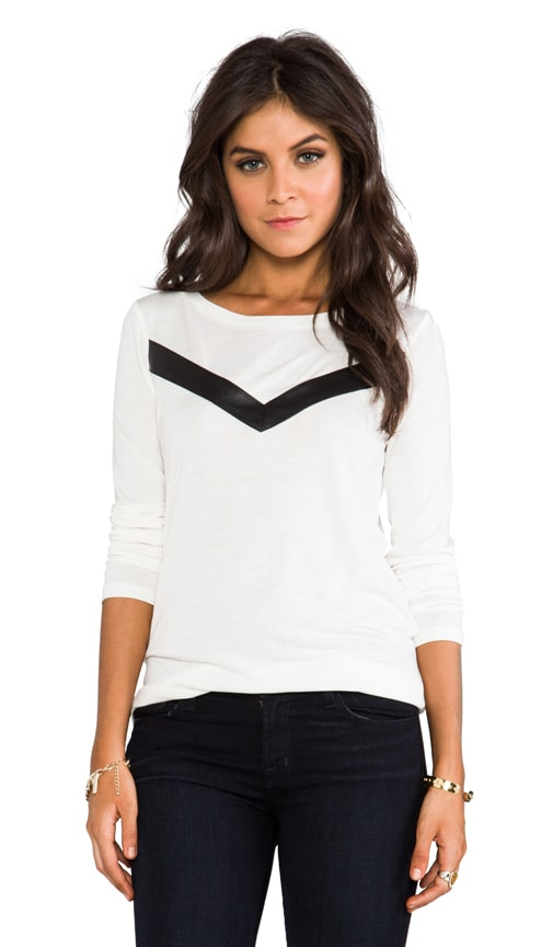 Deborah Long Sleeve Top w/ Faux Leather Insert