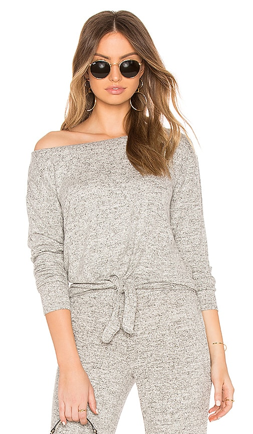 BB Dakota Lounge Tie Front Knit Top in Gray
