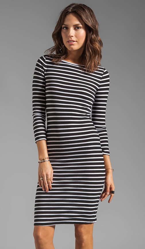 Striped Elbow Sleeve Dress