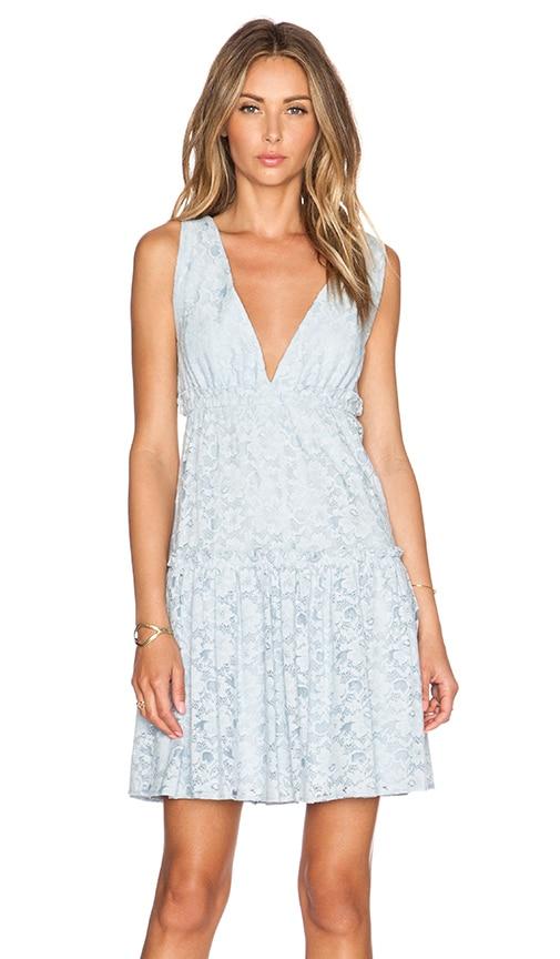 BCBGMAXAZRIA Jodene Blue Lace Dress in Blue Smoke
