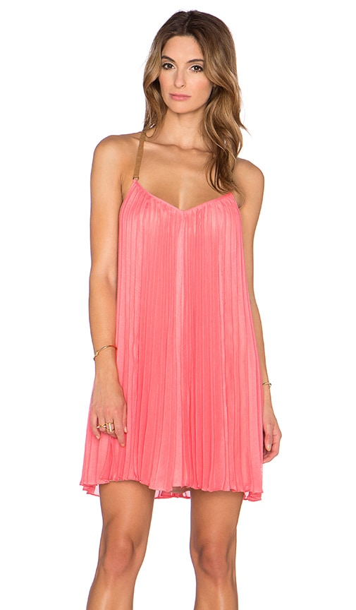 BCBGMAXAZRIA Cayanne Pleated Dress in Coral Reef