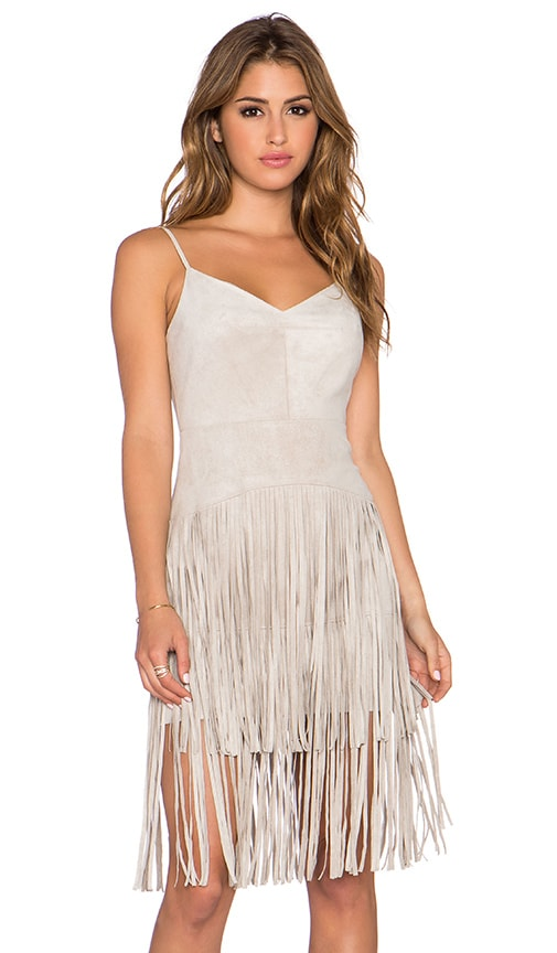 BCBGMAXAZRIA Fringe Dress in Light Stone